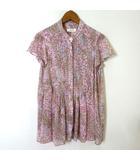 アナディス dun a dix シャツ ブラウス シフォン シアー 花柄 小花柄 ノーカラー 揺れ感 半袖 38 M ピンク 美品