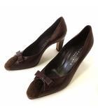 パンプス ハイヒール 本革レザー キャップトゥ ベロア ドッキング リボン 36.5 ダークブラウン こげ茶色 23.5cm くつ 靴 シューズ