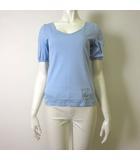 オールドイングランド OLD ENGLAND カットソー Tシャツ 半袖 パフ ギャザー ラウンド Vネック コットン 36 M 水色 国内正規品