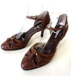 パンプス ヒールサンダル レザー アンクルベルト 23.5cm モカブラウン くつ 靴 シューズ