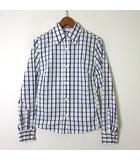 ギローバー GUY ROVER シャツ ブラウス 長袖 チェック ウインドペン 40 M 白 ホワイト 紺 ネイビー 国内正規品 美品