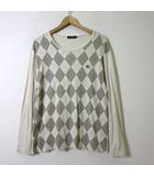 バーバリーブラックレーベル BURBERRY BLACK LABEL Tシャツ ロンT ホース ロゴ 刺繍 アーガイル 長袖 コットン XL 4 ライトベージュ グレー 大きいサイズ 国内正規品