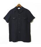 ユナイテッドアローズ UNITED ARROWS シャツ リネン 麻 100% 半袖 オープンカラー XS 紺 ネイビー 小さいサイズ