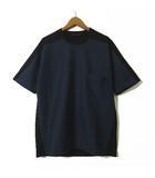ディーゼルブラックゴールド DIESEL BLACK GOLD Tシャツ 半袖 ストレッチ ポケット付 レザー ロゴ S 紺 ネイビー 黒 ブラック 国内正規品 美品