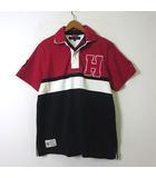 トミーヒルフィガー TOMMY HILFIGER ポロシャツ ラガーシャツ 半袖 ロゴ ワッペン 刺繍 コットン ダブルカラー S 赤 黒 白 国内正規品