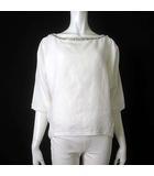 マカフィー MACPHEE トゥモローランド カットソー リネン 麻 100% オーバーサイズ ビジュー 刺繍 シフォン シアー 7分袖 38 M 白 ホワイト