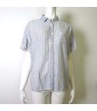 ピュアルセシン pual ce cin シャツ ブラウス オーバーサイズ ストライプ ラッフル 半袖 M-L 白 ホワイト 水色