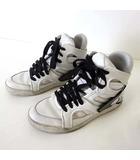 ディーゼル DIESEL スニーカー シューズ ハイカット レザー 25.5cm 白 ホワイト 黒 くつ 靴 US 7.5