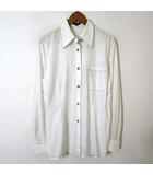 ロペ ROPE シャツ ブラウス シフォン ステッチ 刺繍 イカリ ボタン ロールアップ 長袖 M 白 ホワイト