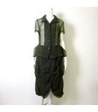 ケイコキシ KEIKO KISHI by nosh スカートスーツ 上下 セットアップ 半袖 ブロックチェック柄 シフォン M 1 グリーン カーキ ブラウスジャケット 変形 ボリュームスカート