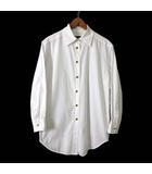 グッチ GUCCI シャツ ブラウス ロングブラウス 長袖 ロゴ 刺繍 ゴールドボタン M 38 白 ホワイト イタリア製