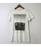 アディダス adidas Tシャツ Vespa ベスパ コラボ フォト プリント 半袖 ロゴ Vネック XS 白 ホワイト 小さいサイズ 国内正規品