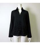 ナラカミーチェ NARA CAMICIE シャツ ブラウス ビーズ 刺繍 コットン ストレッチ 長袖 M 黒 ブラック