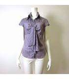 ナラカミーチェ NARA CAMICIE シャツ ブラウス フロントリボン ストライプ フレンチ 半袖 M 紫 パープル