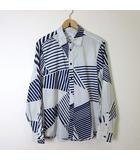 アルマーニエクスチェンジ A/X ARMANI EXCHANGE シャツ カジュアルシャツ 長袖 ミックスストライプ 幾何学柄 S 紺 ネイビー オフ白