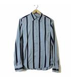 アルマーニエクスチェンジ A/X ARMANI EXCHANGE シャツ カジュアルシャツ 長袖 ミックスストライプ S 紺 ネイビー 水色 サックス 紫