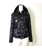 モンクレール MONCLER ジャケット ナイロンジャケット ブルゾン フード ジップアップ ロゴ 刺繍 S 1 黒 ブラック シャイニー