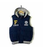 ジャケット ベスト 中綿 ノースリーブ リバーシブル ロゴ 刺繍 フード M 紺 ネイビー グレー 国内正規品
