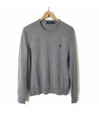 ニット セーター 長袖 ウール 羊毛 100% クルーネック ポニー ロゴ 刺繍 M グレー 杢 国内正規品