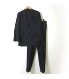 スーツ シングル セットアップ ウール 100% ストライプ 2ボタン ジャケット パンツ M AB6 チャコールグレー