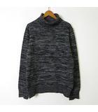 ecru ニット セーター メランジ  タートルネック 長袖 L 48 黒 ブラック グレー 美品
