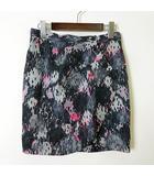 アンシャントマン ENCHANTEMENT スカート ラップスカート シルク 絹 100% 総柄 L 40 黒 ブラック ピンク 美品