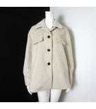 コート ジャケット  オーバーサイズ べっ甲柄 ボタン ストレッチ 長袖 M オフ白 アイボリー