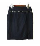 ジェニー GENNY スカート ウール ストレッチ 飾りベルト付き フロントスリット M 紺 ダークネイビー イタリア製 美品