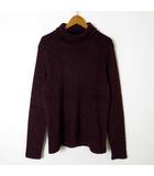ノーアイディー NOID ニット セーター タートルネック パイル地 ウール 裾 ロゴ 刺繍 長袖 M 2 ボルドー 日本製