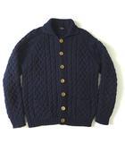 カーディガン ジャケット ケーブル ニット ヘビー ウール シルク ウッドボタン 長袖 肉厚 ボリューム M 杢 紺 ネイビー