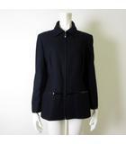 ジェニー GENNY ジャケット コート ウール レザー使い ジップアップ 長袖 M 42 紺 ダークネイビー イタリア製 美品
