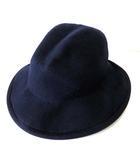 ハット 帽子 つば広帽 ウール 57.5㎝ 紺 ネイビー