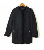 ザラ ベーシック ZARA BASIC コート ジャケット ツイード ノーカラー フリンジ 長袖 M 黒 ブラック ゴールド