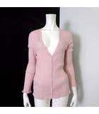 バーバリー BURBERRY カーディガン リブニット ロング 絹 シルク コットン 長袖 ホース ロゴ 刺繍 M 1 ピンク 国内正規品