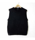 マーガレットハウエル MARGARET HOWELL ニット セーター ノースリーブ ベスト ローゲージ ウール クルーネック M 黒 ブラック 英国製