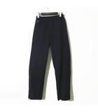 パンツ ワイドパンツ ストライプ ウール ロゴ 刺繍 裾ジップ 66cm 紺 ネイビー 国内正規品