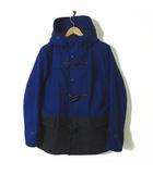 フリークスストア FREAKS STORE コート ダッフルコート 中綿 メルトン ウール バイカラー ダブル ジップアップ フード 長袖 M 青 ブルー チャコールグレー