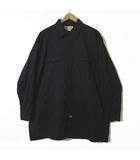 シャツ オーバーサイズ ロゴ ワッペン 刺繍 ポケット付 長袖 XL-3L 黒 ブラック 大きいサイズ