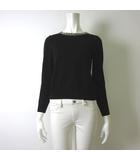 アナイ ANAYI ニット セーター ビジュー スタッズ 襟 ウール 100% 長袖 S 36 黒 ブラック