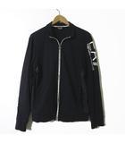 エンポリオアルマーニ EMPORIO ARMANI EA7 ジャケット トラックジャケット ロゴ プリント ジップアップ 長袖 M 黒 ブラック 白 ホワイト 国内正規品