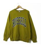 ラッセル RUSSELL トレーナー スウェット ロゴ プリント コットン 長袖 M くすみ 黄緑