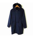 コート ジャケット パーカー スエード 裏ボア フード ジップアップ 長袖 S 紺 ネイビー 黒 ブラック 美品