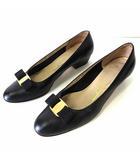パンプス ヴァラ リボン 本革 レザー 9.5 B 黒 ブラック 26.5㎝ くつ 靴 シューズ 大きいサイズ ビッグサイズ