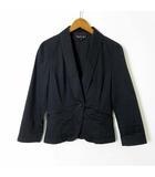 ジャケット タキシードカラー ストレッチ 1ボタン パフスリーブ 長袖 S 36 黒 ブラック