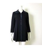 ジャケット ステンカラージャケット ブレザー とろみ 7分袖 ロゴ ラインストーン 装飾 L 紺 ネイビー 国内正規品