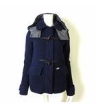 コート ニット ダッフルコート ショート丈 ウール フード ロゴ プレート XS 紺 ネイビー イタリア製