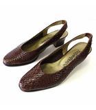 パンプス バックストラップ レザー 編込み メッシュ 36 ダークブラウン こげ茶色 23.0㎝ くつ 靴 シューズ