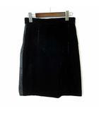 スカート ベロア シアー 切替 M 42 黒 ブラック イタリア製