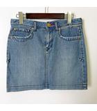 スカート デニムスカート ストレッチ バック ロゴ ワッペン ミニ  M 38 水色 ブルー 国内正規品