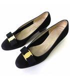 パンプス ヴァラ リボン ヌバック 本革 レザー 6 C 黒 ブラック 23.0㎝ くつ 靴 シューズ
